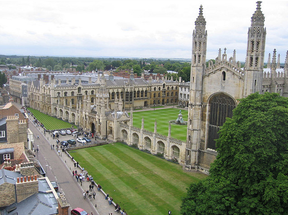 King's College from above, Cambridge, England