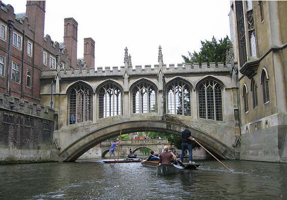 Punting on the River Cam to see the Backs - Cambridge, England