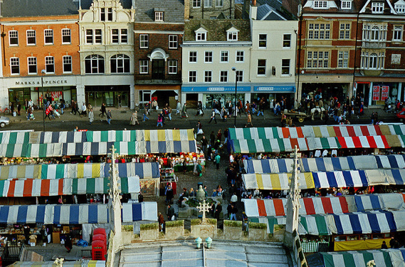 Market Square from Great St Mary's, Cambridge UK